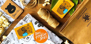don't feed the bears biodegradable packaging flat lay photo