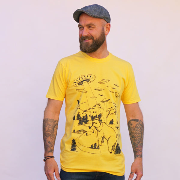 abduction alien yellow t-shirt