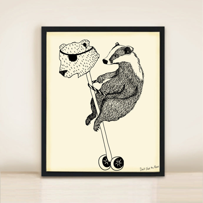 'Badger Rules the Playground' Poster Print A3