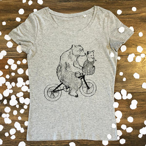bear and fox on bike women's scoop t-shirt