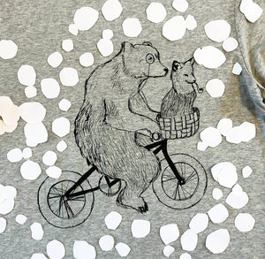 bear and fox on bike women's scoop t-shirt close up