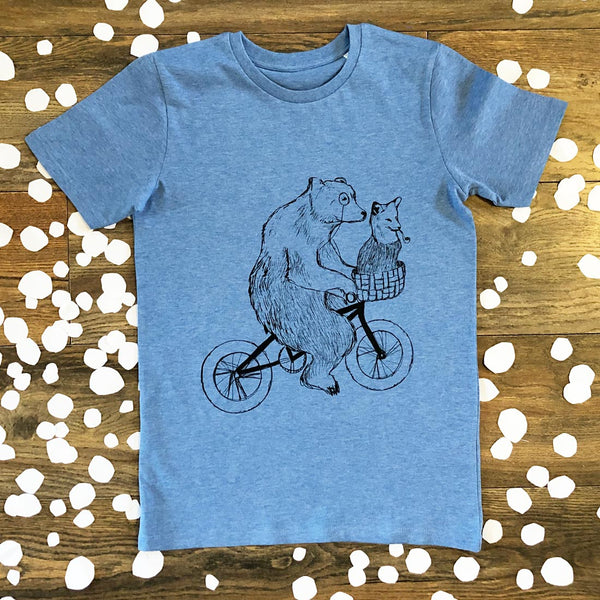 bear and fox blue kids t-shirt