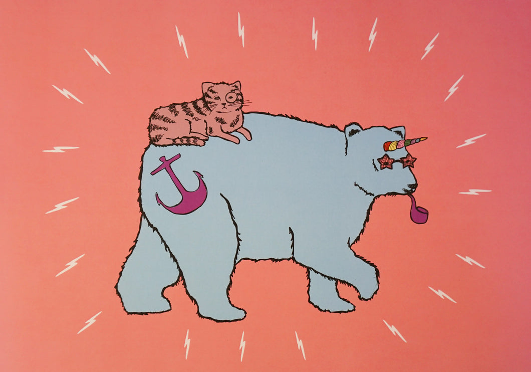 'Unicorn Bear & Cat' Colour Poster Print A3