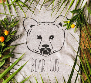 bear cub baby grow with leaves