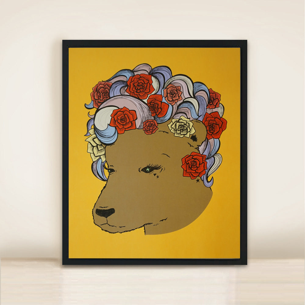 'Bear n Roses' Colour Poster Print A3
