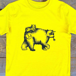 bear with horn and cat t-shirt