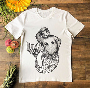 mermaid bear white t-shirt