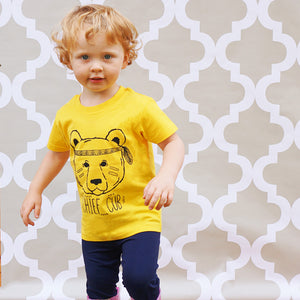 chief cub cute kids yellow tee