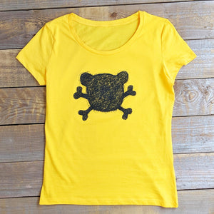 crossbones yellow womens t-shirt