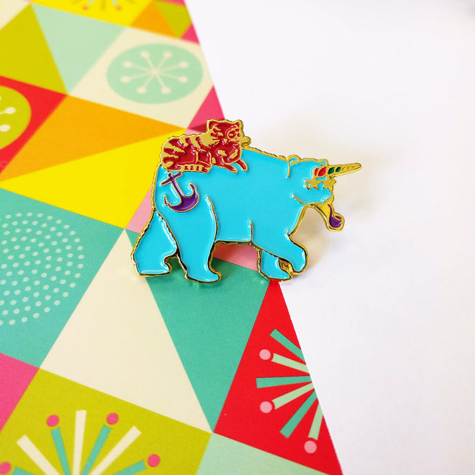 Bearicorn & Cat Enamel Pin Badge