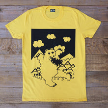 fire breathing bear t-shirt yellow