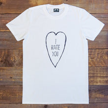 i hate you text in love heart on white tee