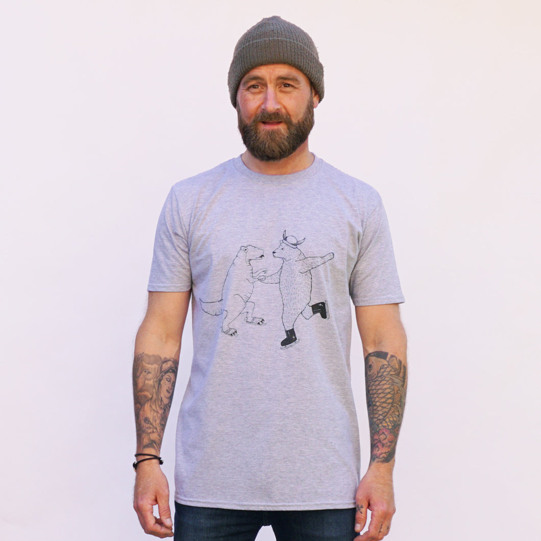 ice skating grey t-shirt