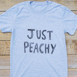Just peachy grey text t-shirt