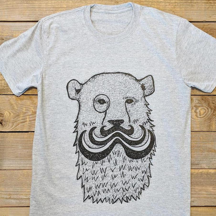 mustache bear grey t-shirt