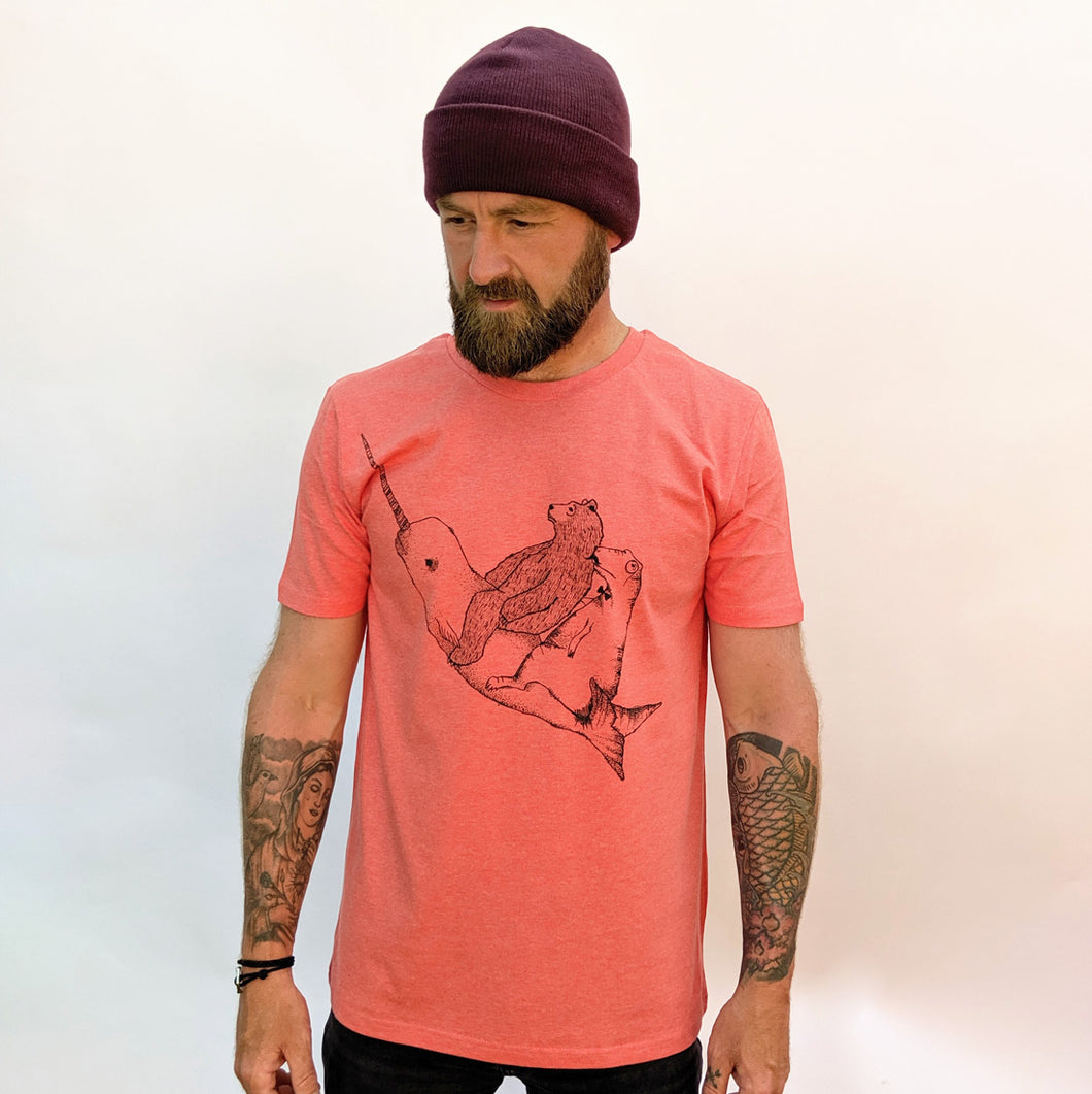 narwhal t-shirt sunset red organic cotton