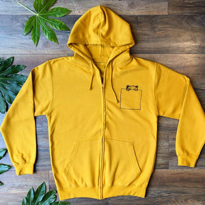 pocket bear zip up hoodie mustard long shot