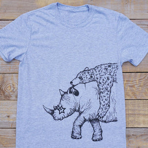 rhino and bear grey tee