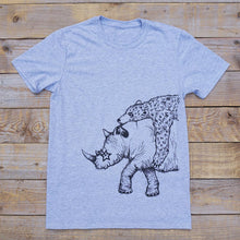 rhino and bear grey t-shirt long shot