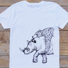 rhino and bear white t-shirt
