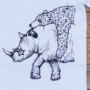 rhino and bear white t-shirt close up