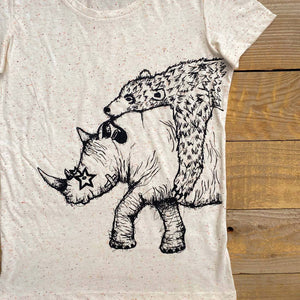 rhino t-shirt with bear for women