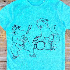 kids rock band tee close up