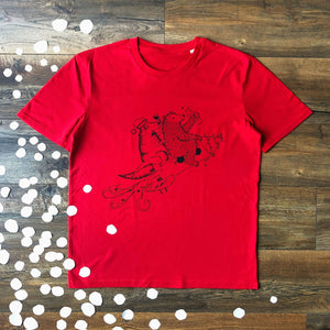 red dinosaur christmas t-shirt