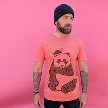 sad panda on pink background
