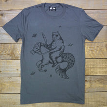 bear on horse with mermaid tail charcoal tee