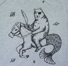 bear with sword and eye patch in outer space