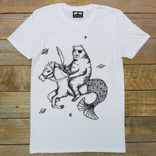 bear on mermaid horse white tee