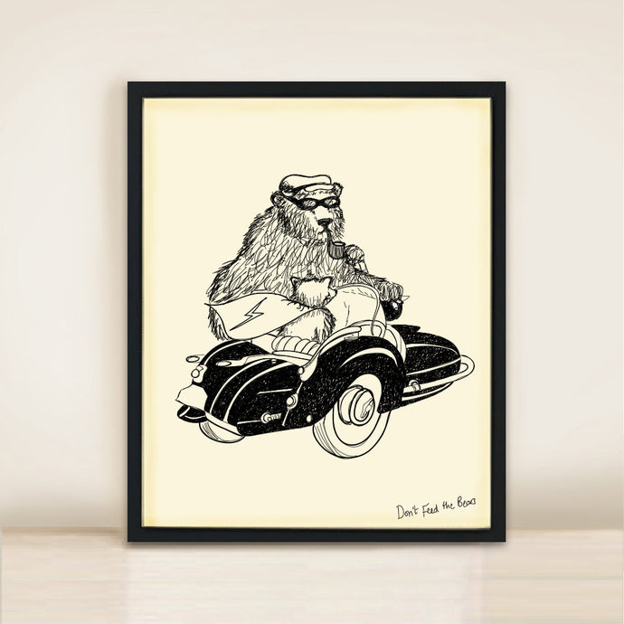 motorbike and sidecar print