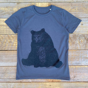 sitting bear charcoal kids t-shirt