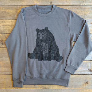 sitting bear charcoal sweater