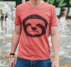 sloth t-shirt worn in front of fountains