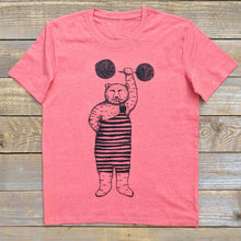 sunset red strong bear t-shirt