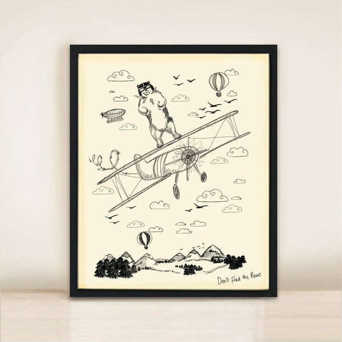 bear on aeroplane print