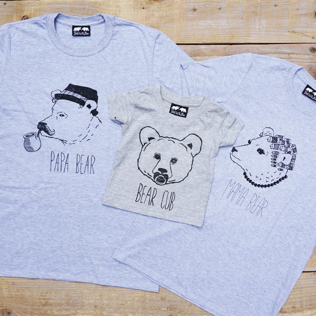 three bears t-shirt set, mama papa and cub tees