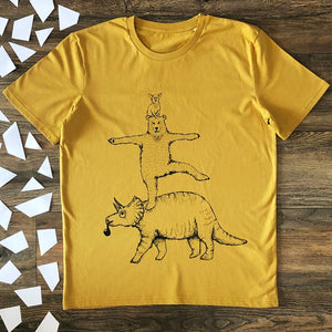 bear and triceratops mustard t-shirt