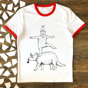 bear and triceratops ringer t-shirt