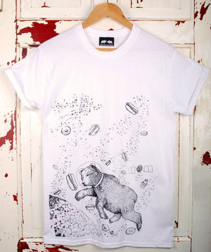 bear floating in space t-shirt