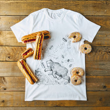 bear in space with hotdogs and doughnuts t-shirt