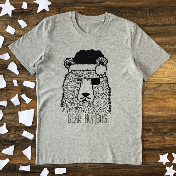 bear in santa hat grey t-shirt