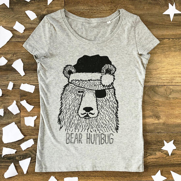 Christmas bear women's t-shirt grey