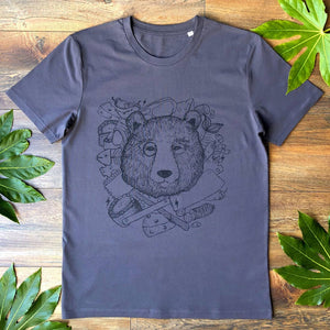 chef bear charcoal t-shirt