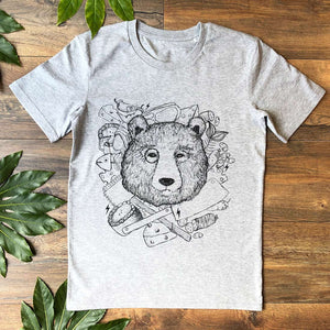chef bear grey t-shirt