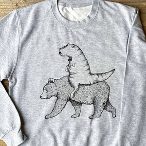 close up photo of bear and t-rex jumper