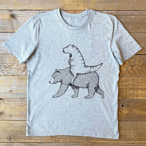 dinosaur riding bear t-shirt