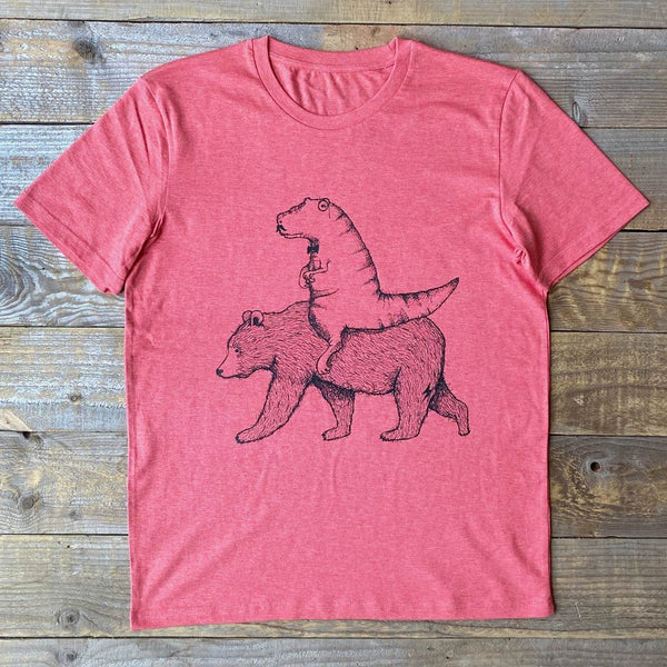 dinosaur riding bear t-shirt on sunset red